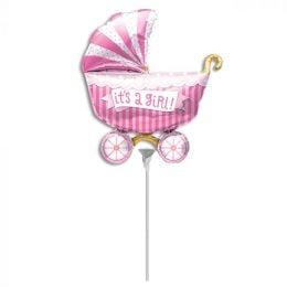 Mini Shape μπαλόνι Its a Girl Καροτσάκι Ροζ