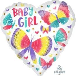 Μπαλόνι καρδιά Baby Girl Πεταλούδες