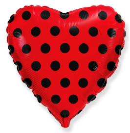 Μπαλόνι Καρδιά κόκκινο με μαύρο πουά