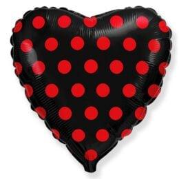 """Μπαλόνι Καρδιά μαύρο με κόκκινο πουά 18"""""""