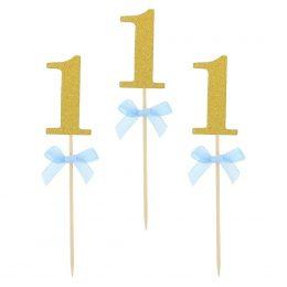 Οδοντογλυφίδες πάρτυ 1st Birthday γαλάζιες (10 τεμ)