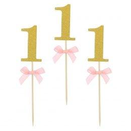 Οδοντογλυφίδες πάρτυ 1st Birthday ροζ (10 τεμ)