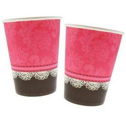 Ποτήρια πάρτυ Φούξια-Μαύρο με δαντέλα (6 τεμ)