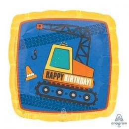 Τετράγωνο μπαλόνι Construction Happy Birthday