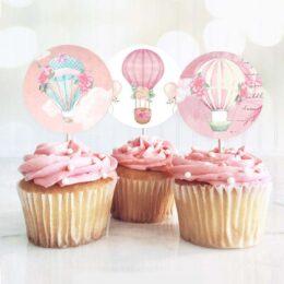 Topper Cupcake Αερόστατο κορίτσι (8 τεμ)