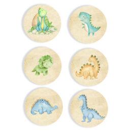 Ξύλινες Κονκάρδες Δεινόσαυροι (6 τεμ)