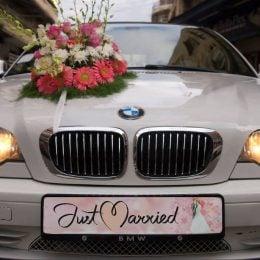 """Πινακίδα αυτοκινήτου γάμου """"Just Married ροζ"""""""