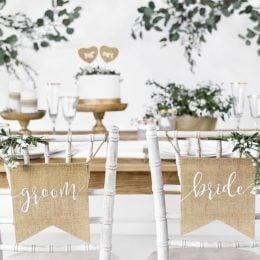 Διακοσμητικά καρέκλας γάμου Bride & Groom
