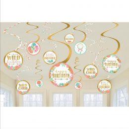 Διακοσμητικά Οροφής Swirls Boho Birthday Girl (12 τεμ)