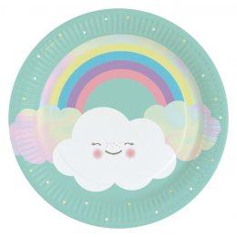 Πιάτα φαγητού Ουράνιο Τόξο & Σύννεφο (8 τεμ)