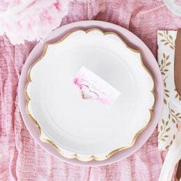 Πιάτα γλυκού Άσπρα με χρυσό περίγραμμα (6 τεμ)