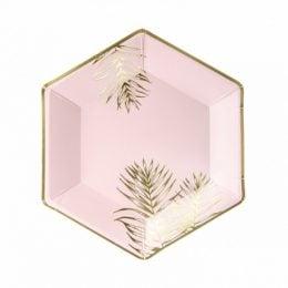 Πιάτα πάρτυ Ροζ με χρυσά Φύλλα (6 τεμ)