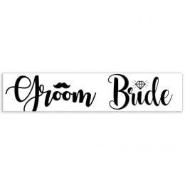 """Πινακίδα αυτοκινήτου γάμου """"Groom - Bride"""""""