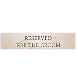 """Πινακίδα αυτοκινήτου γάμου """"Reserved for the Groom"""""""