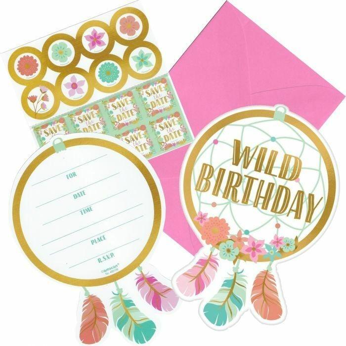 Προσκλήσεις με Φάκελο Boho Birthday Girl (8 τεμ)