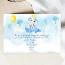 Προσκλητήριο Βάπτισης Ελεφαντάκι με Φάκελο
