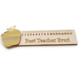 """Ξύλινος Χάρακας με χρυσό Μήλο """"Best Teacher"""""""