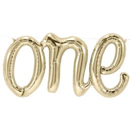 Μπαλόνι φράση One ανοιχτό χρυσό