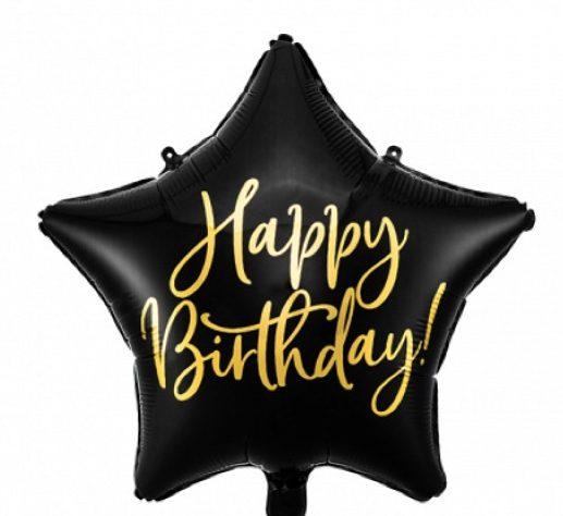 Μπαλόνι Αστέρι Happy Birthday Μαύρο