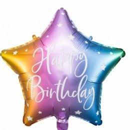Μπαλόνι Αστέρι Happy Birthday Πολύχρωμο