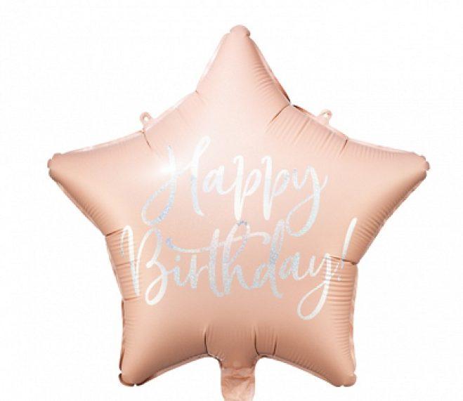 Μπαλόνι Αστέρι Happy Birthday Ροζ της Πούδρας
