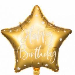 Μπαλόνι Αστέρι Happy Birthday Χρυσό