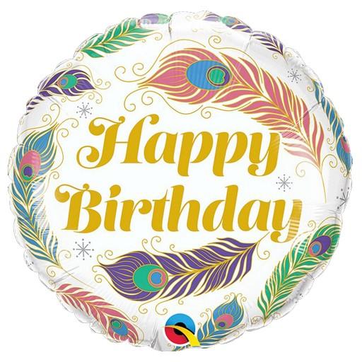 Μπαλόνι Happy Birthday φτερά παγωνιού
