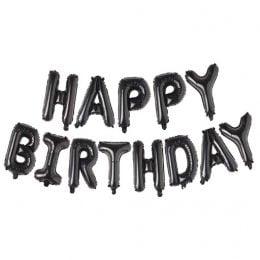 Μπαλόνια φράση Happy Birthday Μαύρο (13 τεμ)