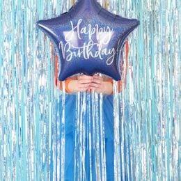 Μπαλόνι Αστέρι Happy Birthday Μπλε Navy