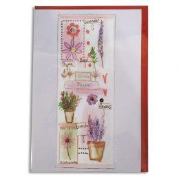 Ευχετήρια Κάρτα Floral Γλαστρούλες με φάκελο