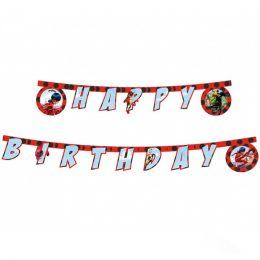 """Γιρλάντα """"Happy Birthday"""" Miraculous Ladybug"""