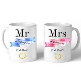 Κούπες για Νεόνυμφους Mr & Mrs (2 τεμ)