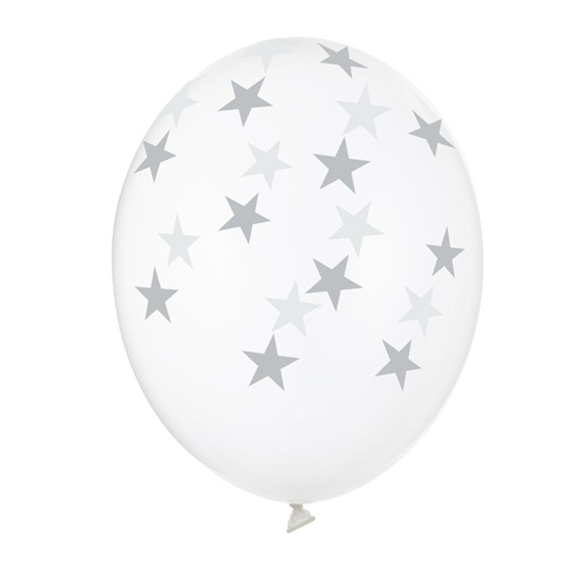 Σετ Διάφανα Μπαλόνια με ασημί Αστέρια (6 τεμ)