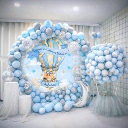 Στρογγυλή αφίσα Βάπτισης Αερόστατο Αρκουδάκι