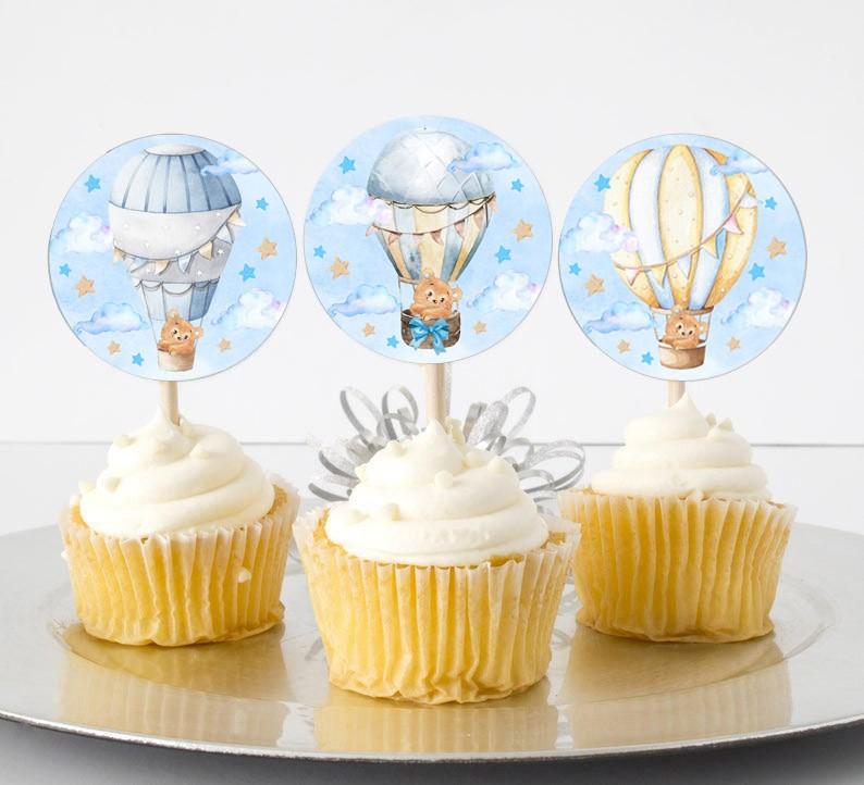 Topper Cupcake Αερόστατο Αρκουδάκι (6 τεμ)