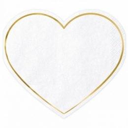 Χαρτοπετσέτες Καρδιά άσπρο με χρυσό (20 τεμ)