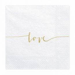 Χαρτοπετσέτες Love χρυσό (20 τεμ)