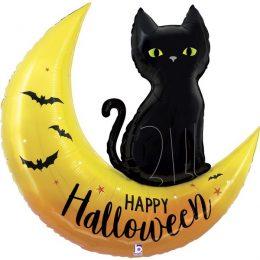 Μπαλόνι Happy Halloween Φεγγάρι & Γάτα