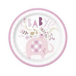 Πιάτα γλυκού Ελεφαντάκι ροζ (8 τεμ)