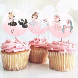 Topper Cupcake Μπαλαρίνα (6 τεμ)