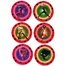 Ξύλινες Κονκάρδες Miraculous Ladybug (6 τεμ)