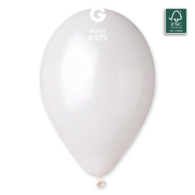 """13"""" Άσπρο Μεταλλικό λάτεξ μπαλόνι"""