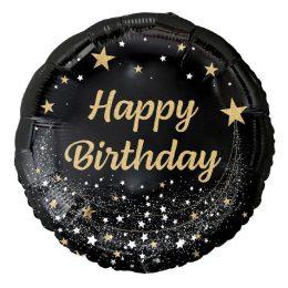 """18"""" Μπαλόνι Happy Birthday Μαύρο"""