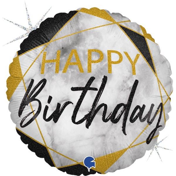 """18"""" Μπαλόνι Happy Birthday Μάρμαρο χρυσό-μαύρο"""