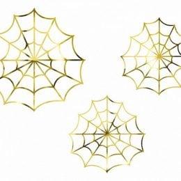 Διακοσμητικοί χρυσοί Ιστοί Αράχνης (3 τεμ)