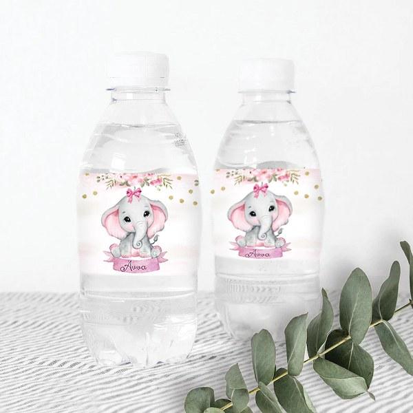 Ετικέτες για μπουκάλια νερού Ελεφαντάκι κορίτσι (8 τεμ)