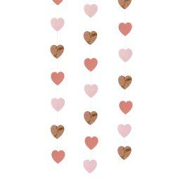 Γιρλάντα με καρδιές ροζ-χρυσό