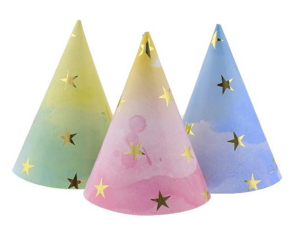 Καπέλα πάρτυ Παστέλ με αστεράκια (6 τεμ)