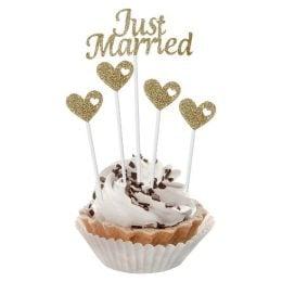 Οδοντογλυφίδες Just Married χρυσό glitter
