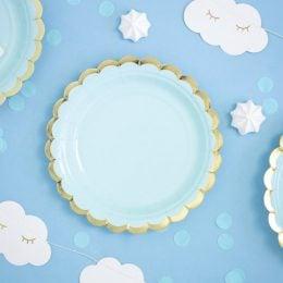 Πιάτα γλυκού Γαλάζιο με χρυσό (6 τεμ)